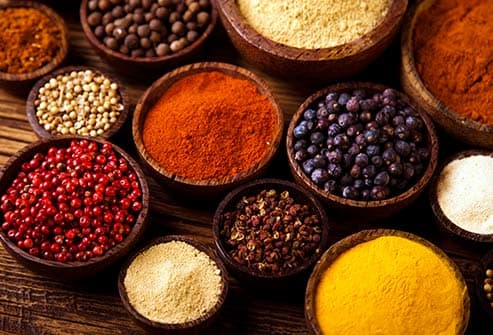 bowls of colorful spices