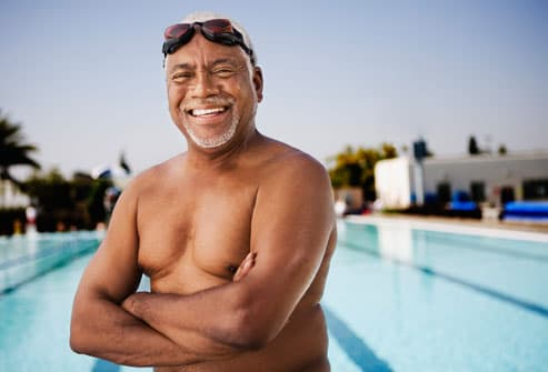 Smiling senior man swimmer