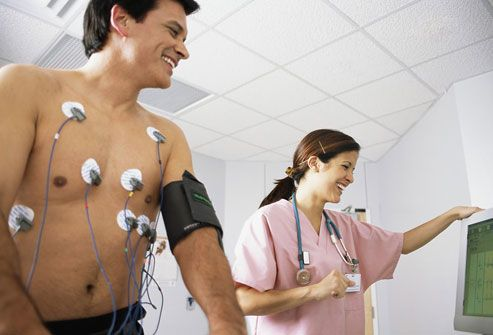 Man Hooked Up to Heart Monitor