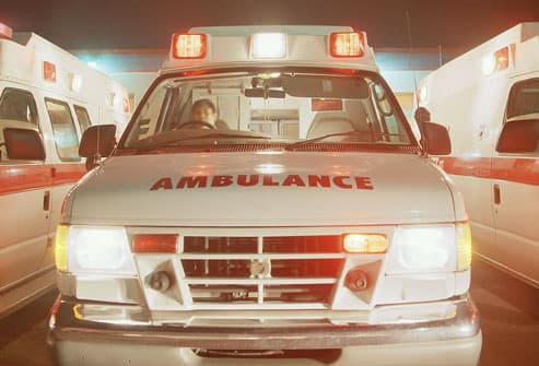 Ambulance in hospital parking lot