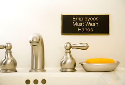 Hand Wash Sign in Bathroom