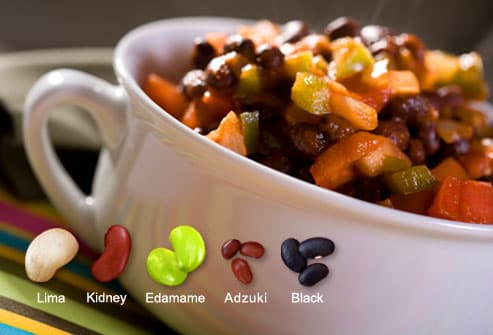 Assorted beans in soup bowl