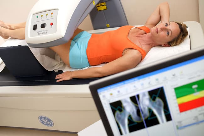 woman having hip scan