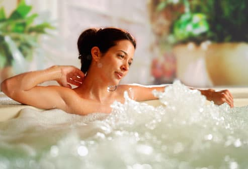 Woman In Home Spa with Bubbles