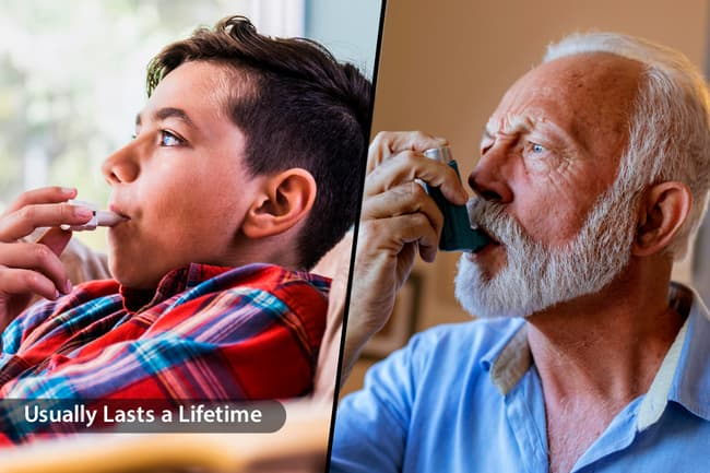 photo of young boy senior man using inhalers