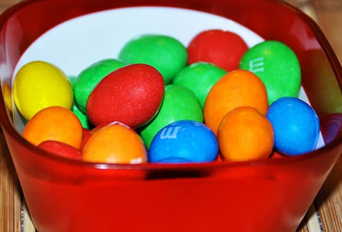 mm candies in small bowl