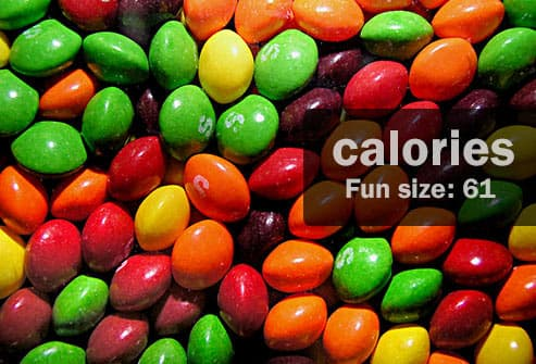 skittles candies with text
