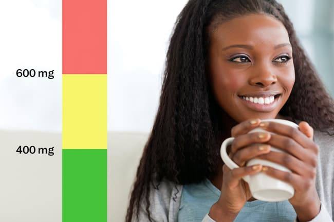 photo of woman drinking coffee and graphic