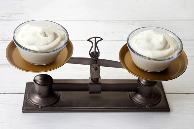 weighing bowls of yogurt
