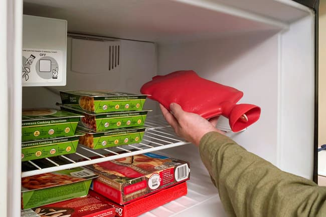 hot water bottle in freezer