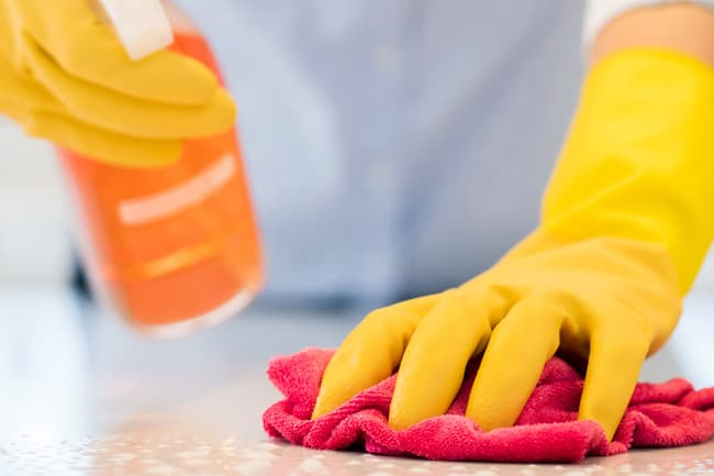 photo of disinfecting counter