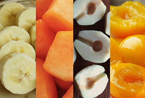 banana, cantalope, pears, peaches