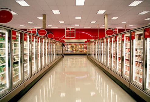 frozen aisle of supermarket
