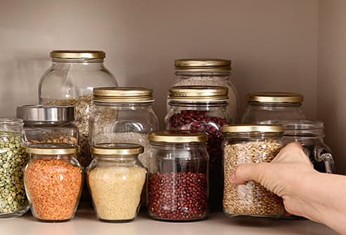 dried foods in glass jars