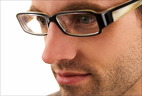 man in plastic eyeglasses