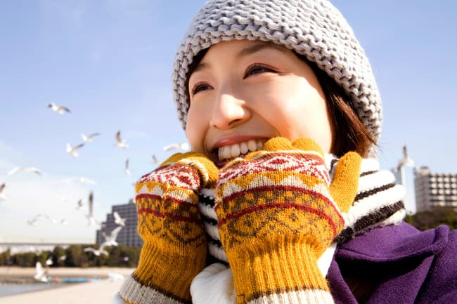 photo of woman dressed for winter