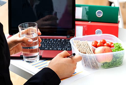Snacking at desk