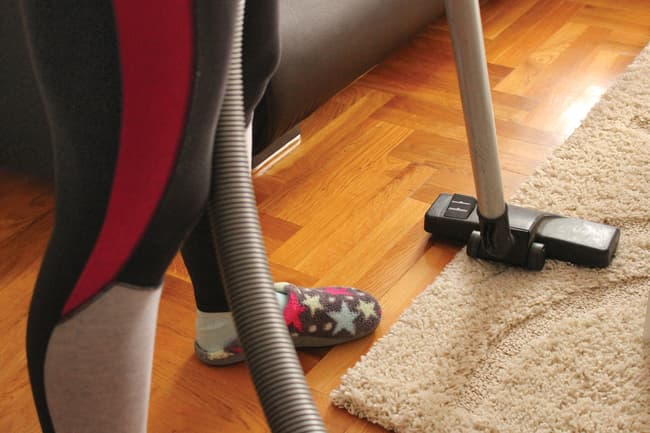 vacuuming rug