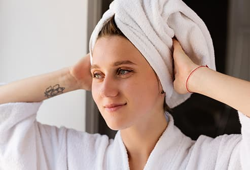 towel on woman's head
