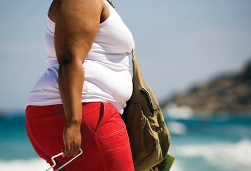 obese woman at the beach