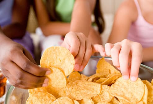Teenagers Eating Chips