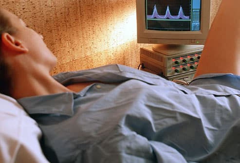 A female patient undergoes biofeedback