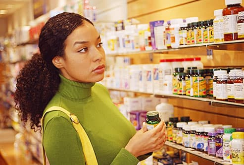 woman shopping supplements