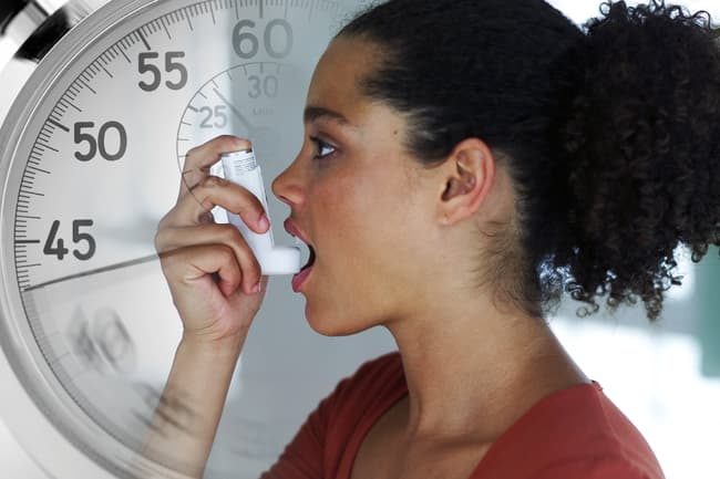 woman using inhaler clock