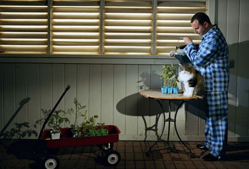 Man in pajamas watering plants late at night