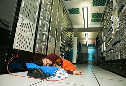 Network administrator sleeping on the  job