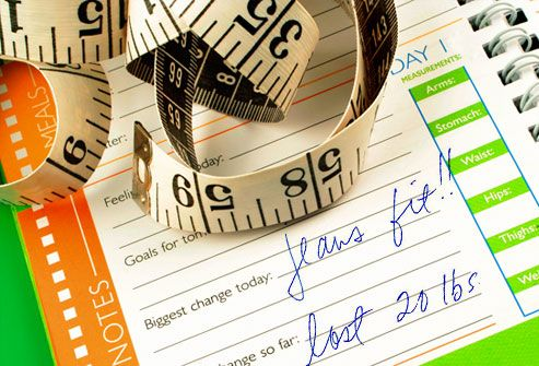Tape Measure and Weight Loss Diary