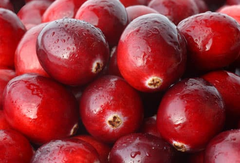 Ripe cranberries in close up with water drops