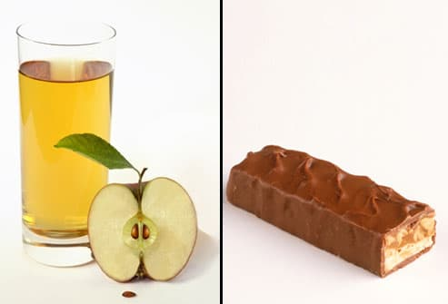 Comparison of glass of apple juice with candy bar