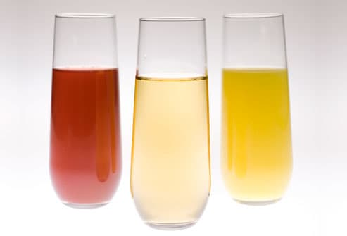 three glasses of fruit juice