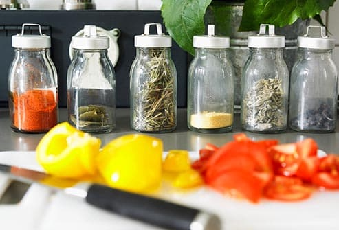 spice jars on counter