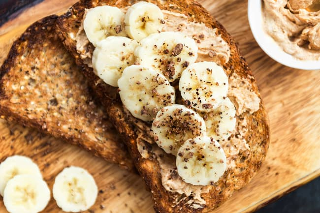 photo of peanut butter and bananas on toast