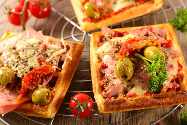 photo of pizza waffles