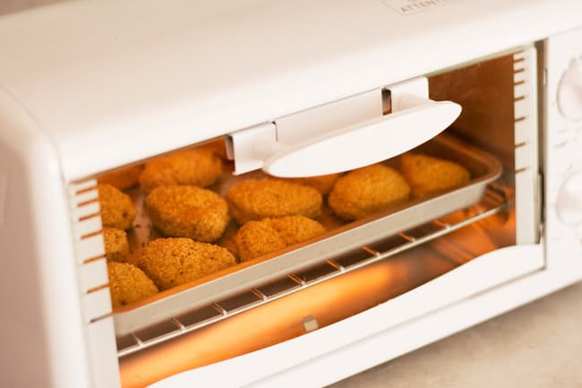 photo of chicken nuggets in toaster oven