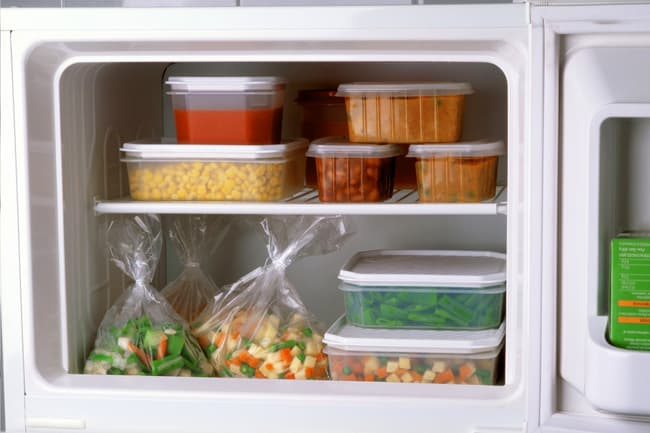 photo of food containers in freezer