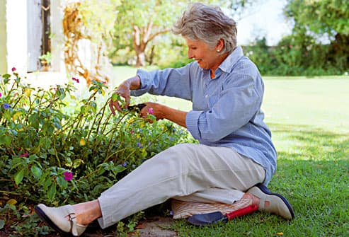 senior woman working in garden