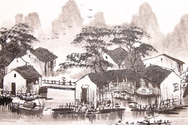 photo of chinese water town painting