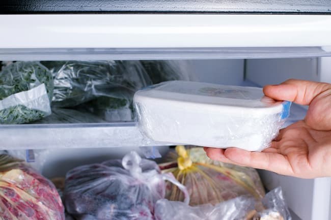 photo of storing food in freezer