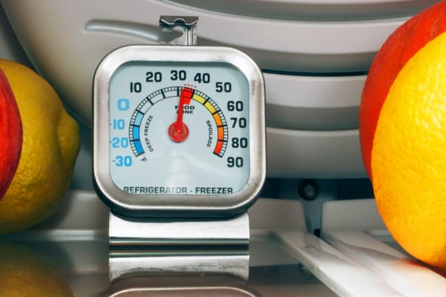 photo of thermometer in fridge