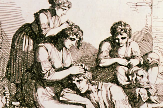 photo of historical woodcut of hair lice treatment