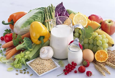 Assorted fruit, vegetables, milk and grains