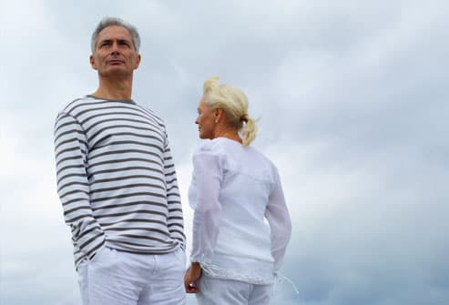 Mature couple against cloudy sky