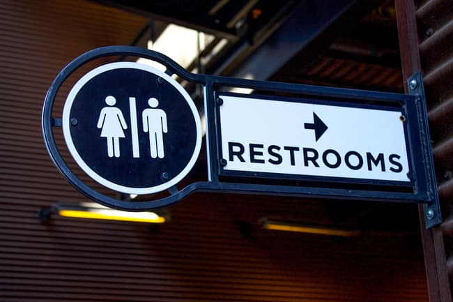 photo of restrooms sign