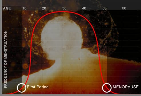 Graph showing menstrual cycle over lifetime