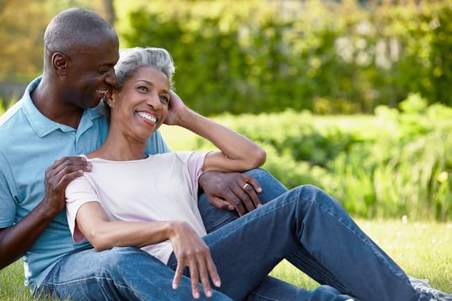 photo of mature couple laughing