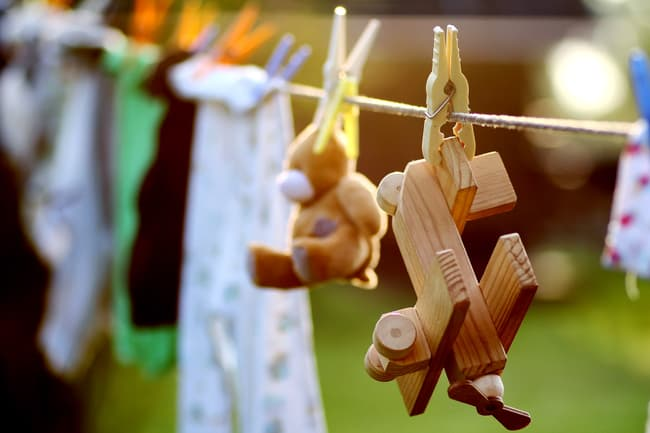 photo of toy hanging from line